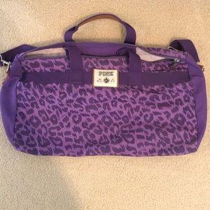 Victoria's Secret purple cheetah duffle bag